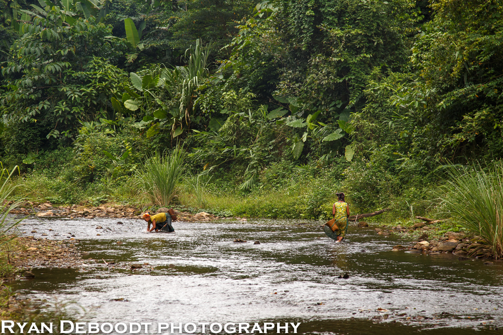 Local women from Doong village catching dinner.