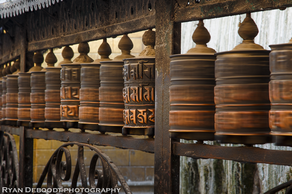 Prayer wheels at Swayambhunat.