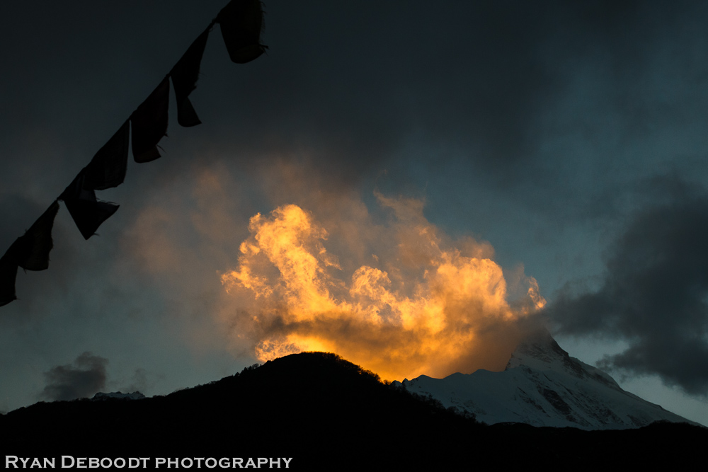 I was lucky enough to witness a sunset that made the clouds on Manaslu look like fire.
